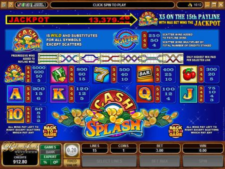 Cash Splash 5-Reels Slots -Microgaming