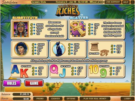 Ramesses Riches Slots -WGS Technology